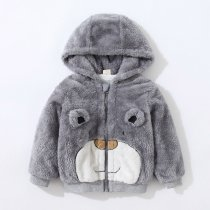 Navy Toddler Boys Winter Warm Hoodie Coat Print Bear Flannel Outerwear