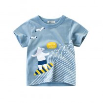 Blue Cute Cartoon White Bear Graphics Cotton T-shirt