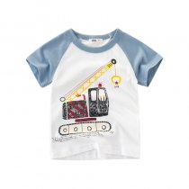 Print Cute Machineshop Car Cotton Short T-shirt