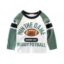 Rubgy football  Slogan and Graphics Yellow Long Sleeve Cotton Tee