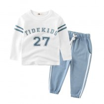 Blue Stripes Print Slogan Two Pieces Outfits Long Sleeve Tee and Jogger Pant