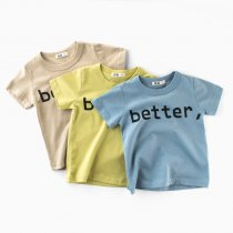 Blue Slogan Better Letters Cotton T-shirt