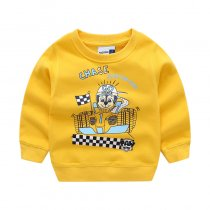 Toddler Boys Hoodies Print Racing Car and Letters Sweatshirts
