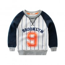 Stripes Print Letter and Number Navy Color Matching Sweatershirt