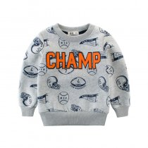 Print Sport Balls and Slogan Champ Grey Fleece Sweatershirt