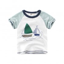 Print Blue Boats Cotton Short T-shirt