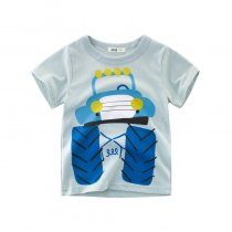 Print Blue Cute Car Cotton Short T-shirt