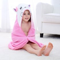 Baby Pink Cat Face Hooded Bathrobe Towel Bathrobe Cloak Size 28 *55