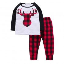 Baby 2 Pieces Print Deer Long Sleeve T-shirt and Plaid Pant Clothes Set