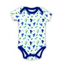 Baby Boy Print Blue Vehicles Short Sleeve Cotton Bodysuit