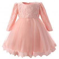 Girl Lace Flower Princess Dresses Back Bow Decoration Dresses