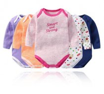 Baby Girl Print Stripes 5 Packs Long Sleeve Cotton Bodysuit