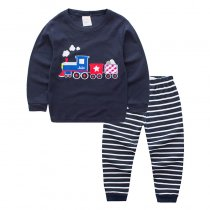 Toddler Boy 2 Pieces Pajamas Sleepwear Train Long Sleeve Shirt & Legging Sets