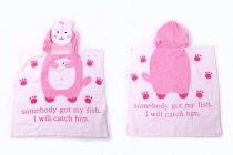Baby Pink Cat Face Hooded Bathrobe Towel Bathrobe Cloak