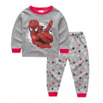 Toddler Boy 2 Pieces Pajamas Sleepwear Grey and Red Spider Man Long Sleeve Shirt & Legging Sets