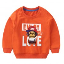 Toddler Boy Print Monkey and Slogan Love Sweatshirt