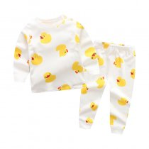 Toddler Girl 2 Pieces Pajamas Sleepwear Yellow Duck Long Sleeve Shirt & Legging Sets
