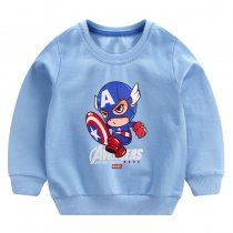 Toddler Boy Print Cartoon Captain Sleeve Sweatshirt