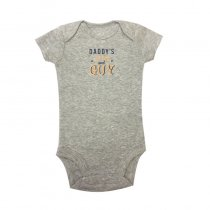 Baby Boy Print Grey Slogan GUY Short Sleeve Cotton Bodysuit