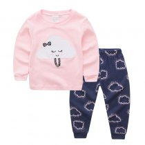 Toddler Girl 2 Pieces Pajamas Sleepwear Clouds Long Sleeve Shirt & Legging Sets