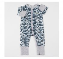 Baby Boy Zip-Up Navy Print Fish Cotton Long Sleeve One piece