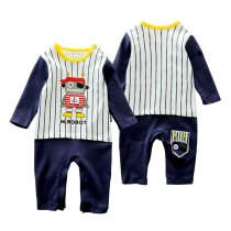 Baby Boy Snap-Up Print Robot Cotton Long Sleeve One piece