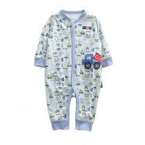 Baby Boy Snap-Up Print Blue Trucks Cotton Long Sleeve One piece