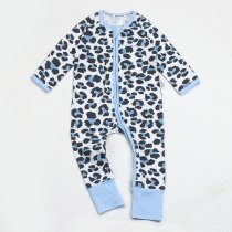 Baby Boy Zip-Up Blue Leopard Print Cotton Long Sleeve One piece