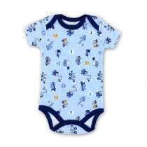 Baby Boy Print Blue Trucks Short Sleeve Cotton Bodysuit
