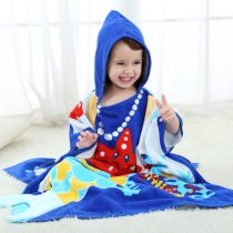 Baby Blue Sea Face Hooded Bathrobe Towel Bathrobe Cloak Size 28 *55