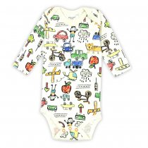 Baby Boy Print Scrawl City Long Sleeve Cotton Bodysuit
