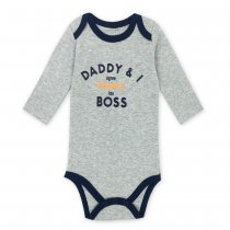 Baby Boy Print Slogan Long Sleeve Cotton Bodysuit