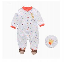 Baby Girl Snap-Up Colorful Stars Footed Cotton Long Sleeve One piece (0-1Years)