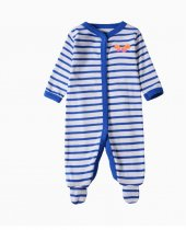 Baby Girl Snap-Up Blue Stripes Footed Cotton Long Sleeve One piece (0-1Years)