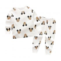Toddler Boy 2 Pieces Pajamas Sleepwear White Mickey Long Sleeve Shirt & Legging Sets