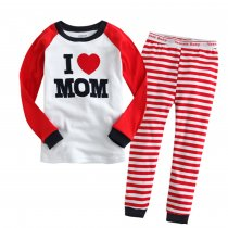 Toddler Girl 2 Pieces Pajamas Sleepwear Family Long Sleeve Shirt & Leggings Set