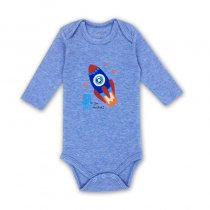 Baby Boy Dark Blue Print Rocket Long Sleeve Cotton Bodysuit