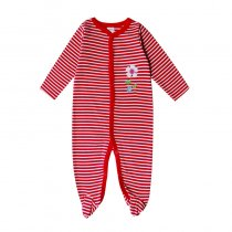 Baby Girl Red Stripes Footed Pajamas Sleepwear Cotton Infant One-piece (0-1Year)