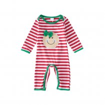 Baby Boy Snap-Up Red Stripes Baby Smile Face Cotton Long Sleeve One piece