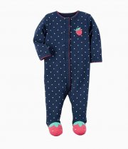 Baby Girl Snap-Up White Dots Footed Cotton Long Sleeve One piece (0-1Years)