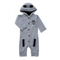 Baby Boy Snap-Up Grey Fox Hooded Cotton Long Sleeve One piece