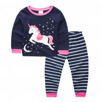Toddler Girl 2 Pieces Pajamas Sleepwear Unicorn Long Sleeve Shirt & Legging Sets