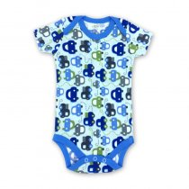 Baby Boy Print Blue Cars Short Sleeve Cotton Bodysuit