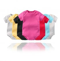 Baby Boy Pure Color Short Sleeve Cotton Bodysuit
