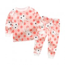 Toddler Girl 2 Pieces Pajamas Sleepwear Pink Rabbit Long Sleeve Shirt & Legging Sets