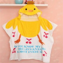 Baby Yellow Chick Face Hooded Bathrobe Towel Bathrobe Cloak Size 24 *47