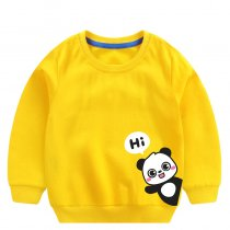Toddler Boy Print Panda and Slogan Hi Long Sleeve Sweatshirt