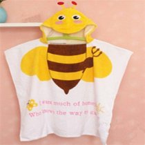 Baby Yellow Bee Face Hooded Bathrobe Towel Bathrobe Cloak Size 24 *47