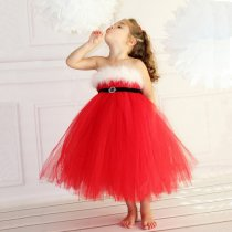 Girl Red Christmas Tulle Tutu Lace Princess Dresses