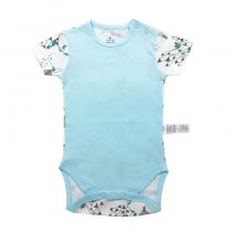 Baby Boy Blue Prints Short Sleeve Cotton Bodysuit